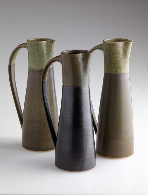 Column jugs, stoneware.