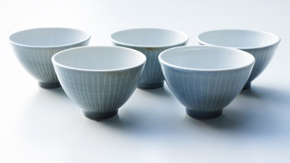 Tea bowls, prcelain with sgraffito through glaze.
